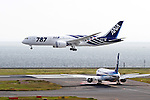 September 28, 2011, Tokyo, Japan - The first all-new Boeing 787 Dreamliner aircraft ordered by All Nippon Airways Co. comes to landing at Tokyos Haneda Airport on a flight from Everett, Wash., on Wednesday, September 28, 2011. The world's first carbon-composite passenger jetliner will make commercial flights on a route between Narita International Airport, east of Tokyo, and Hong Kong. (Photo by AFLO) [3609] -mis-