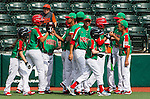ABERDEEN, MD - AUGUST 01: Mexico celebrates after scoring three runs on an RBI single by Victor Sanchez #13 (not pictured) in a game between Mexico and Canada during the Cal Ripken World Series at The Ripken Experience Powered by Under Armour on August 1, 2016 in Aberdeen, Maryland. (Photo by Ripken Baseball/Eclipse Sportswire/Getty Images)
