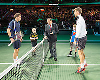 Rotterdam, The Netherlands, February 13, 2016,  ABNAMROWTT, Martin Klizan (SVK), Nicolas Mahut (FRA)<br /> Photo: Tennisimages/Henk Koster