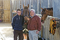 Pictured: Peter Bowen (R) with his son Sean Bowen in the barn. Wednesday 10 January 2018<br /> Re: Peter Bower Racing in Little Newcastle, west Wales, UK.