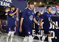 ORLANDO CITY, FL - JANUARY 31: Sam Vines #13 of the United States exits the tunnel before a game between Trinidad and Tobago and USMNT at Exploria stadium on January 31, 2021 in Orlando City, Florida.