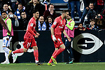 Real Madrid's Marco Asensio (L) and Karim Benzema (R) celebrate goal during La Liga match between CD Leganes and Real Madrid at Butarque Stadium in Leganes, Spain. April 15, 2019. (ALTERPHOTOS/A. Perez Meca)