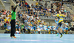 GER - Mannheim, Germany, September 23: During the DKB Handball Bundesliga match between Rhein-Neckar Loewen (yellow) and TVB 1898 Stuttgart (white) on September 23, 2015 at SAP Arena in Mannheim, Germany. Final score 31-20 (19-8) . (Photo by Dirk Markgraf / www.265-images.com) *** Local caption *** Sebastian Arnold #16 of TVB 1898 Stuttgart, Patrick Groetzki #24 of Rhein-Neckar Loewen