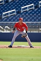 Washington Nationals first baseman Drew Mendoza (13) during an Instructional League game against the Miami Marlins on September 26, 2019 at FITTEAM Ballpark of The Palm Beaches in Palm Beach, Florida.  (Mike Janes/Four Seam Images)