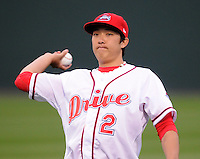 April 13, 2009: Infielder Jonathan Hee (2) of the Greenville Drive on the team's 2009 home opener against the Hickory Crawdads at Fluor Field at the West End in Greenville, S.C. Photo by: Tom Priddy/Four Seam Images