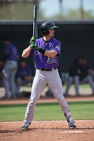 Colorado Rockies catcher Robbie Perkins (39) during a Minor League Spring Training game against the Los Angeles Angels at Tempe Diablo Stadium Complex on March 18, 2018 in Tempe, Arizona. (Zachary Lucy/Four Seam Images)