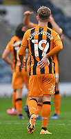 Hull City's Keane Lewis-Potter holds his aching back<br /> <br /> Photographer Dave Howarth/CameraSport<br /> <br /> The EFL Sky Bet League One - Rochdale v Hull City - Saturday 17th October 2020 - Spotland Stadium - Rochdale<br /> <br /> World Copyright © 2020 CameraSport. All rights reserved. 43 Linden Ave. Countesthorpe. Leicester. England. LE8 5PG - Tel: +44 (0) 116 277 4147 - admin@camerasport.com - www.camerasport.com
