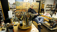 "Artist Victor Stabin sits in his studio at the site of his ""Flow"" Gallery and Restaurant in Jim Thorpe, Pa Wednesday, Jan. 19, 2010. (The KeyStone Edge/Bradley C Bower)"
