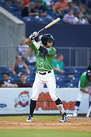 Ryan LaMarre (7) of the Gwinnett Stripers at bat against the Scranton/Wilkes-Barre RailRiders at Coolray Field on August 16, 2019 in Lawrenceville, Georgia. The Stripers defeated the RailRiders 5-2. (Brian Westerholt/Four Seam Images)