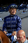 DEL MAR, CA  SEPTEMBER 6:  Smiling Mike Smith in the post parade of the Del Mar Juvenile Turf on September 6, 2021 at Del Mar Thoroughbred Club in Del Mar, CA. (Photo by Casey Phillips/Eclipse Sportswire/CSM)