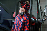 KANSAS CITY, KS - JULY 15: Brad Guzan #22 of the United States arriving at the stadium before a game between Martinique and USMNT at Children's Mercy Park on July 15, 2021 in Kansas City, Kansas.