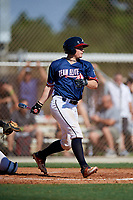 Ethan Hearn during the WWBA World Championship at the Roger Dean Complex on October 18, 2018 in Jupiter, Florida.  Ethan Hearn is a catcher from Mobile, Alabama who attends Mobile Christian School and is committed to Mississippi State.  (Mike Janes/Four Seam Images)