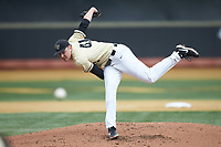 Wake Forest Demon Deacons starting pitcher Jared Shuster (41) delivers a pitch to the plate against the Notre Dame Fighting Irish at David F. Couch Ballpark on March 10, 2019 in  Winston-Salem, North Carolina. The Demon Deacons defeated the Fighting Irish 7-4 in game one of a double-header.  (Brian Westerholt/Four Seam Images)