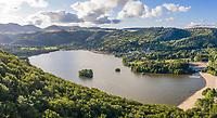 France, Puy de Dome, Volcans d'Auvergne Regional Natural Park, Chambon sur Lac, Lake Chambon (aerial view) // France, Puy-de-Dôme (63), Parc naturel régional des volcans d'Auvergne, Murol, lac de Chambon (vue aérienne)