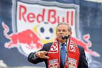 US Senator Robert Menendez addresses the media during the topping off ceremony at Red Bull Arena in Harrison, NJ, on April 14, 2009.