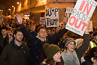 Protesters march along Queen Street in Wales' capital city to protest Donald Trump's ban on people from certain Muslim-dominant countries from entering the US. Monday 30 January 2017