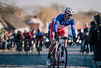 Arnaud Démare (FRA/FDJ) atop the last cobbled climb of the day: Nokere Berg<br /> <br /> 70th Kuurne-Brussel-Kuurne 2018<br /> Kuurne › Kuurne: 200km (BELGIUM)