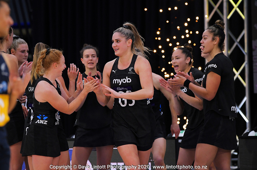 Silver Ferns goalshoot Te Paea Selby-Ricket runs out for the Cadbury Netball Series final between NZ Silver Ferns and NZ Men at the Fly Palmy Arena in Palmerston North, New Zealand on Saturday, 24 October 2020. Photo: Dave Lintott / lintottphoto.co.nz