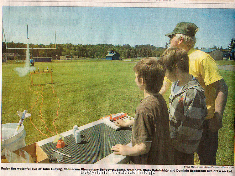 John Ludwig supervise Chimacum Elementary School students in an after school rocketry class.