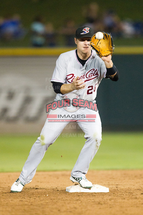 Sacramento River Cats second baseman Luke Hughes #26 catches a ball at second base during the Pacific Coast League baseball game against the Round Rock Express on May 22, 2012 at The Dell Diamond in Round Rock, Texas. The Express defeated the River Cats 11-5. (Andrew Woolley/Four Seam Images)