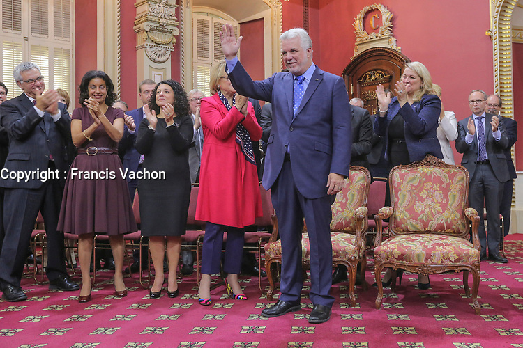 Quebec Premier Philippe Couillard gestures as the new new Liberal cabinet applauses at the National Assembly in Quebec City October  11, 2017.<br /> <br /> PHOTO :  Francis Vachon - Agence Quebec Presse