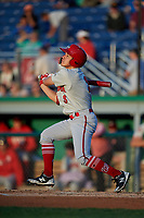 Auburn Doubledays Anthony Peroni (5) bats during a NY-Penn League game against the Batavia Muckdogs on August 31, 2019 at Dwyer Stadium in Batavia, New York.  Auburn defeated Batavia 12-5.  (Mike Janes/Four Seam Images)