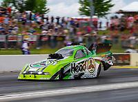 May 19, 2018; Topeka, KS, USA; NHRA funny car driver Jonnie Lindberg during qualifying for the Heartland Nationals at Heartland Motorsports Park. Mandatory Credit: Mark J. Rebilas-USA TODAY Sports
