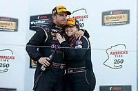 IMSA Continental Tire SportsCar Challenge<br /> Mazda Raceway Laguna Seca 240<br /> Mazda Raceway Laguna Seca<br /> Monterey, CA USA<br /> Saturday 23 September 2017<br /> 44, Nissan, Altima, ST, Sarah Cattaneo, Owen Trinkler, podium<br /> World Copyright: YOUR NAME HERE<br /> LAT Images