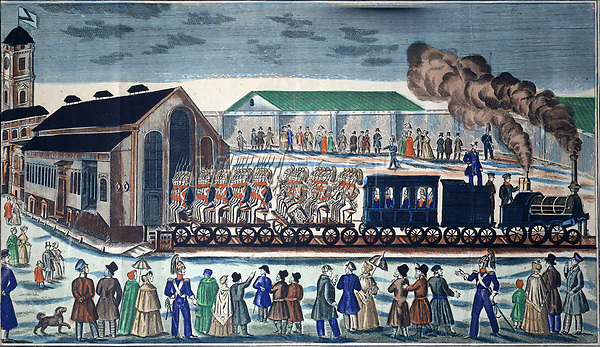 Departure from the Moscow Rail Terminal in St. Petersburg<br /> Artist: Russian master<br /> Museum: State History Museum, Moscow<br /> Method: Watercolour and ink on paper<br /> Created: 1860<br /> School: Russia<br /> Trend in art: Primitivism