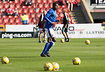 Aberdeen v St Johnstone…18.09.21  Pittodrie    SPFL<br />Efe Ambrose making his first start for St Johnstone pictured during the warm-up<br />Picture by Graeme Hart.<br />Copyright Perthshire Picture Agency<br />Tel: 01738 623350  Mobile: 07990 594431