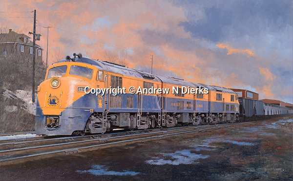 """Baldwin Babyface diesel locomotives of the Jersey Central Railroad pulling a coal drag out of Scranton to the shipping docks in New Jersey. Oil on canvas, 20"""" x 32""""."""