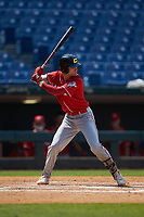Alex Mooney (46) of Orchard Lake St Mary's Prep in Rochester Hills, MI playing for the Cincinnati Reds scout team during the East Coast Pro Showcase at the Hoover Met Complex on August 4, 2020 in Hoover, AL. (Brian Westerholt/Four Seam Images)