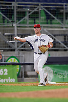 Binghamton Rumble Ponies third baseman Matt Oberste (45) throws to first base during a game against the Erie SeaWolves on May 14, 2018 at NYSEG Stadium in Binghamton, New York.  Binghamton defeated Erie 6-5.  (Mike Janes/Four Seam Images)