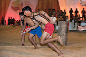 Contestants make a flying start in the 100 metres second round at the International Indigenous Games, in the city of Palmas, Tocantins State, Brazil. Photo © Sue Cunningham, pictures@scphotographic.com 28th October 2015