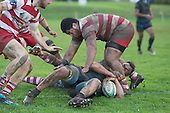 Leroy Jack gets the ball down to score Onewhero's only try. Counties Manukau Premier Club Rugby game between Karaka and Onewhero, played at Karaka on Saturday June 25th 2016. Karaka won the game 15 - 10 after leading 10 - 3 at halftime.<br />  Photo by Richard Sprnger.