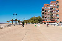 Coney island boardwalk near Atlantic ocean, Brooklyn, New york, USA