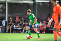 LAKE BUENA VISTA, FL - JULY 14: Gustav Svensson #4 of the Seattle Sounders dribbles the ball during a game between Seattle Sounders FC and Chicago Fire at Wide World of Sports on July 14, 2020 in Lake Buena Vista, Florida.
