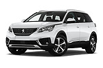 Stock pictures of low aggressive front three quarter view of 2019 Peugeot 5008 Allure 5 Door SUV Low Aggressive