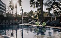 post-training cooldown for Nicola Conci (ITA/Trek-Segafredo) &  Gianluca Brambilla (ITA/Trek-Segafredo) in the hotel pool at Team Trek-Segafredo Mallorca training camp <br /> <br /> January 2018