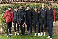 STANFORD, CA - APRIL 25: Maddie Sheils, Brooke Seay, Condoleezza Rice, Rachel Heck, Aline Krauter, Rebecca Becht, Anne Walker at Stanford Golf Course on April 25, 2021 in Stanford, California.