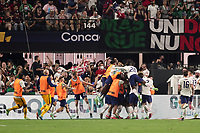 LAS VEGAS, NV - AUGUST 1: Miles Robinson #12 of the United States celebrates scoring with teammates after a game between Mexico and USMNT at Allegiant Stadium on August 1, 2021 in Las Vegas, Nevada.