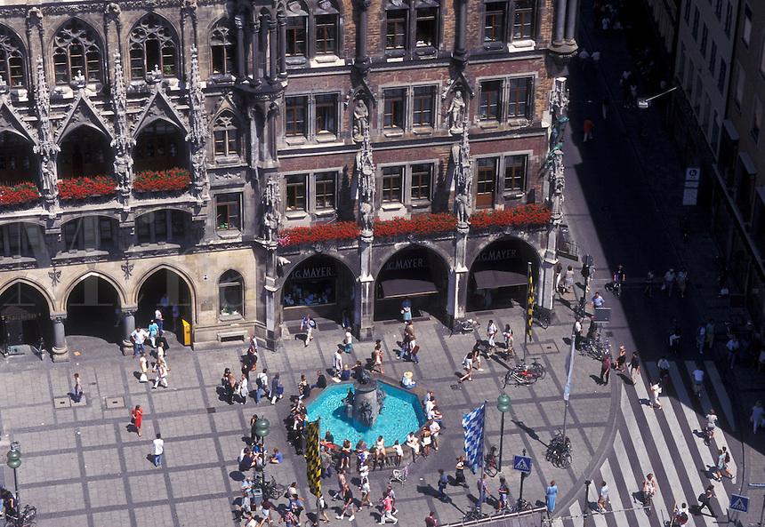 aerial, Munich, Germany, Bavaria, Munchen, Europe, Aerial view of Marienplatz and Neues Rathaus in downtown Munich.