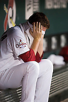 Anthony Ferrara (44) of the Springfield Cardinals reacts in the dugout after being pulled from a game against the Northwest Arkansas Naturals at Hammons Field on August 23, 2013 in Springfield, Missouri. (David Welker/Four Seam Images)