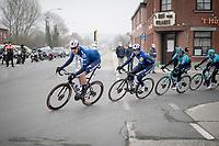 """Tim Declercq """"El tractor"""" (BEL/Deceuninck - Quick Step) & Zdenek Stybar (CZE/Deceuninck-Quickstep) leading the peloton<br /> <br /> 76th Omloop Het Nieuwsblad 2021<br /> ME(1.UWT)<br /> 1 day race from Ghent to Ninove (BEL): 200km<br /> <br /> ©kramon"""