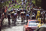 Riders climb the brutal Mur de Huy during La Fleche Wallonne Femmes 2018 running 118.5km from Huy to Huy, Belgium. 18/04/2018.<br /> Picture: ASO/Thomas Maheux | Cyclefile.<br /> <br /> All photos usage must carry mandatory copyright credit (© Cyclefile | ASO/Thomas Maheux)