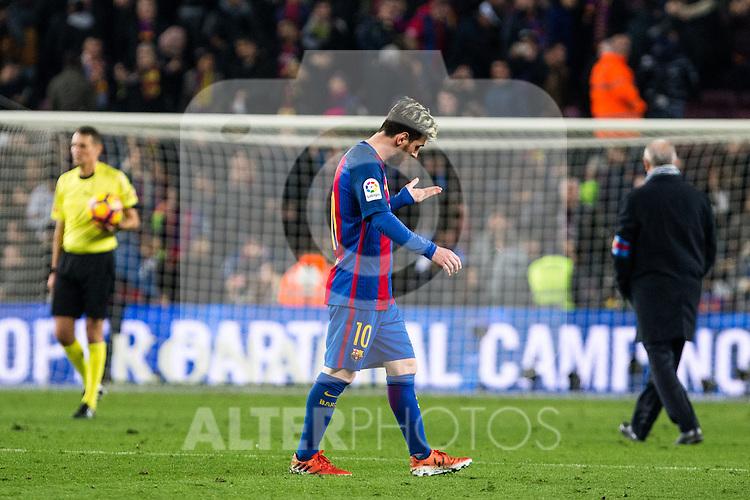 FC Barcelona's Leo Messi  during spanish La Liga match between Futbol Club Barcelona and Real Madrid  at Camp Nou Stadium in Barcelona , Spain. December 03, 2016. (ALTERPHOTOS/Rodrigo Jimenez)