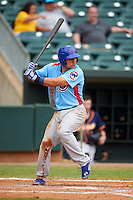 Tennessee Smokies first baseman Anthony Giansanti (9) at bat during a game against the Montgomery Biscuits on May 25, 2015 at Riverwalk Stadium in Montgomery, Alabama.  Tennessee defeated Montgomery 6-3 as the game was called after eight innings due to rain.  (Mike Janes/Four Seam Images)