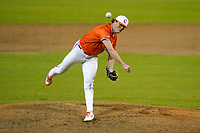 Mack Anglin (32) of the Clemson Tigers delivers a pitch in a fall Orange-Purple intrasquad scrimmage on Friday, November 13, 2020, at Doug Kingsmore Stadium in Clemson, South Carolina. (Tom Priddy/Four Seam Images)