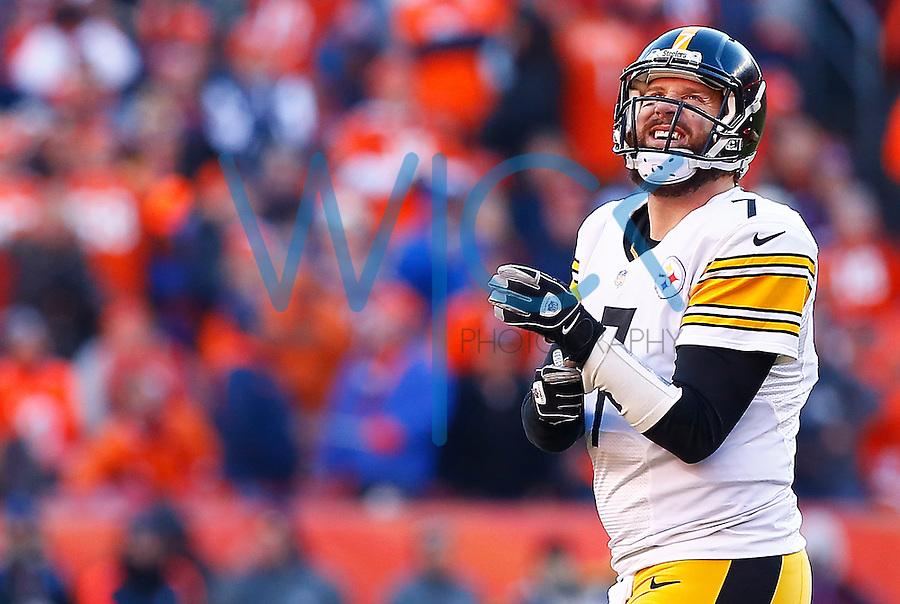 Ben Roethlisberger #7 of the Pittsburgh Steelers reacts following an incomplete third down pass against the Denver Broncos in the second quarter during the AFC Divisional Round Playoff game at Sports Authority Field at Mile High on January 17, 2016 in Denver, Colorado. (Photo by Jared Wickerham/DKPittsburghSports)