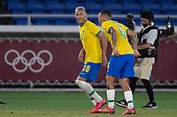 22nd July 2021; Stadium Yokohama, Yokohama, Japan; Tokyo 2020 Olympic Games, Brazil versus Germany; Richarlison of Brazil celebrates his hat trick goal with Guilherme Arana in the 29th minute 3-0